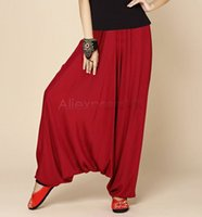 Wholesale Ethnic Pants Woman - New 2015 Women Pants Fashion Lady Classic Ethnic Casual Large Crotch Loose Harem Pant Cotton Blends b7