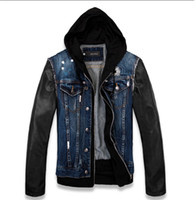 Wholesale Blue Leather Jackets - Fall-Free shipping Mens VINTAGE motorcycle Black PU leather sleeve Patchwork Denim Jean Jacket Coat Hiddies US SIZE M L XL XXL XXXL