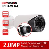 Wholesale Ip Camera Poe Mega - H.264 2.0 Mega Pixel 1080P Bullet IP Camera Outdoor Network With PoE Port 4x Zoom Auto Iris Motorized Lens IR 40m Night Vision