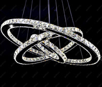 Wholesale Diamond Pendant Semi Mount Round - Modern LED Crystal Chandeliers Pendant Lights Ceiling Hanging Lighting Fixtures with AC110-240V LED SMD Round Ring Diamond