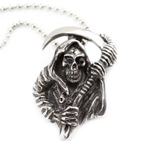 Wholesale Necklace Men Silver Gothic - men's punk jewelry sickle cool grim Reaper skeleton skull Gothic pendant necklaces vintage silver cool jewelry for men ZJ-0903488