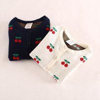 Wholesale Good Quality Girls Clothing - Wholesale-The New Autumn Lovely cherry two color girls cardigan sweater coat good quality girls clothes
