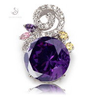 Wholesale Trendy Products - First class products Trendy Amethyst Cubic Zirconia fashion Silver Plated Pendants R538 Promotion Favourite Best Sellers Punk Rock