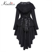 Wholesale slim tailcoat - Wholesale- Kinikiss Women Trench Coat 2017 Black Gothic Outerwear Hooded Bow Button Lace Up Vintage Tailcoat Fashion Slim Overcoat