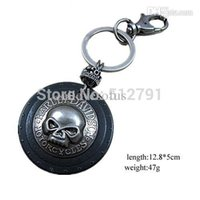 Wholesale Leather Handmade Key Ring - Wholesale-ky058 leather Key chain ring,men punk leather skull key chain,fashion jewlery,handmade jewelry,100% genuine leather