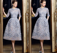 Wholesale Pearl Sales - Hot Sale Half Sleeve Short Party Dresses 3D Floral Appliques with Beading Pearls Party Dresses for Women Organza Ellie Saab Formal Dresses