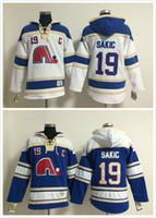 eski zaman hokeyi hoodies sweatshirt toptan satış-2016 Yeni, Erkekler # 19 Joe Sakic Eski Zaman Quebec Nordiques Buz Hokeyi Hoodies Kazak Formalar, Dikişli Dikişli Numaralandırma Yazı