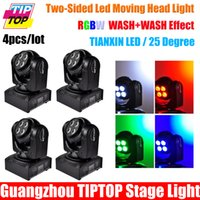 Gros-4PCS / Lot Nouvelle ArrivéeAccueil Compact Illimité Rotating Led Moving Head Light Double faces 8 * 10W RGBW Mini Moving Head faisceau lumineux DMX 512