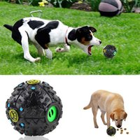 Wholesale Plastic Dog Bone Toy - Dog Toy Ball Food Leaking Balls Sound Making Toy Cute Bones Paws Pattern Black Color Fun Play Eating Pet Supplies Perfect Training DHL FEDEX