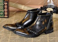 Wholesale Cowboy Sexy Man - Plus Size Genuine Leather Formal Italian Stylish Ankle Boots Men's Cowboy Shoes Fashion Sexy Punk Spikes Brown Dress boots