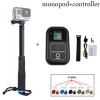 gopro wifi remote großhandel-Freeshipping neue kits Für GoPro hero5 4 3 einbeinstativ stativ + wifi fernbedienung kit Für GoPro HERO 5 4 3 + 3 sport kamera zubehör
