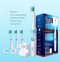dentes ultra-sônicos venda por atacado-Kemei KM907 Escova de Dentes Elétrica Recarregável Ultrasonic Tooth Brush dentes Recarregável Toothbrush com 3 cabeças de substituição para adultos de crianças.