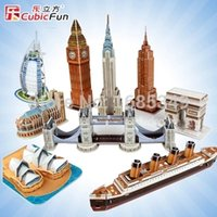 Wholesale 3d puzzle cubicfun - Wholesale-Free Shipping Three-Dimensional Architectural Models CubicFun Puzzle Paper Puzzle Simulation Model - Mini Architecture Series