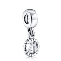 Wholesale One Teardrop - Number Twenty One Charm European Charm Fit For 925 Sterling Silver Snake Chain Bracelet DIY Jewelry