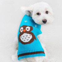 Wholesale New Design Sweaters - 2016 New Dog Autumn Winter Warm Thick Owl Design Dog Coat Clothes Mini Pet Puppy Dog Small Cute Knitted Sweater Dog Hoodie Coat