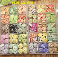 Wholesale Dot Buttons - free shipping mixed 100 pcs 30 styles 15mm 2-hole Dots and Stripes Printed Wooden button Sewing Scrapbooking Crafts accessory