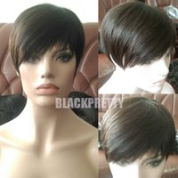 Wholesale Brown Hair Celebrities - Short Pixie Cut Human Hair Wigs Rihanna Brown Short Cut Wigs For Black Women African American Celebrity Wigs Hot Sale