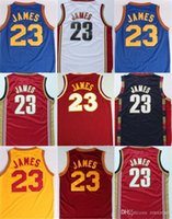# 23 LeBron James Cavalier Cleveland bestickt Retro Mesh Throwback Basketball trägt Home Road genähte Basketball Jerseys