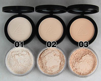 korea pulver großhandel-100% garantierte Korea 3CE Foundation Concealer Powder 3 Schichten gedrückt Powder + Loose Powder + Makeup Puff + Spiegel 3CE 2in1 Make-up Concealer