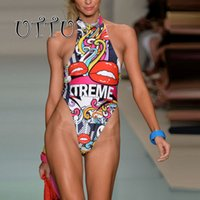 UTTU New High Cut Monokini Sexy Thong Swimwear Women Print Lips Высокий кружевной купальник для купания Beach Bathing Suit Letter Colorful Swim Wear