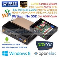Großhandels-Barebone PC 8G DDR3L Bay Trail Intel Celeron 1,86 GHz Quad Core N2920 Max 2.0Ghz Industrial Computer Fanless Desktop-Windows-XBMC
