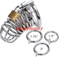 Wholesale Men Lockable Cage - 2015 new stainless steel lockable male bondage cock cage penis ring cage, dildo cage rings, sex toys for men, chastity devices