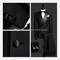 Wholesale Double Sided Pants - Double-Breasted Side Slit Black Groom Tuxedos Shawl Lapel Groomsmen Best Man Mens Weddings Prom Suits (Jacket+Pants+Girdle+Tie) NO:2599