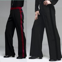 black samba pants - 2015 New Men Latin Dance Pants Velvet Mens Ballroom Dance Pants Black Red Rumba Samba Tango Cha Cha Jazz Dancewear DQ6049