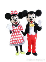Wholesale Wholesalers Mascot Fancy Dress - Mickey And Minnie Mouse Costume Mascot Cartoon Suit Adult Size Clothing Party Fancy Dress Brand New Suit 2pcs