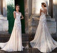 Wholesale Sleeveless Jewel Neckline Wedding Dresses - 2016 Sheer Lace A-Line Wedding Dresses Illusion Jewel Neckline Sleeveless Chapel Train Custom Made Cheap Spring Beach Bridal Wedding Gowns