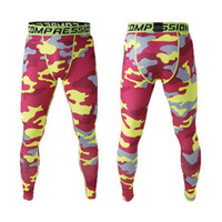 Wholesale Sports Leggings For Men - Wholesale-Mens Gym Clothing Sports Tights PRO Elastic Basketball Long Leggings Pants Men Compression Camouflage Pants For Men Size S-XL