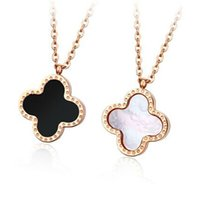 Wholesale clover korea necklaces resale online - Titanium Steel clover necklace colors double fased four leaf clover pendants Necklace Agate Shell Korea Clavicle fashion jewelrry for gift