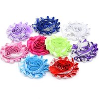 Wholesale Diy Shabby Chic Flower Headbands - 36pcs shabby chic flower baby hair accessories chiffon Frayed flower hair bows Invitations flower DIY Flower Bouquet