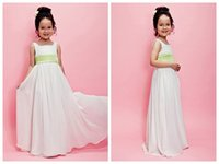 Wholesale 2017 A line Chiffon Flower Girl Dresses Square Neckline Floor Length Toddler Long Pageant Dresses Cheap Kids Prom Gowns