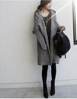 womens langer kapuzen-pullovermantel großhandel-Frauen Winter Lange Pullover Mäntel Mode Strickjacken Outer Wears Womens Einfache Lose Mit Kapuze Pullover Mäntel