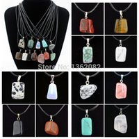 Wholesale Irregular Charm Necklace - Jewelry Wholesale 12pcs lot Fashion Men Women's Crazy Irregular Natural Stone Charms Pendants Necklace Gift MN446