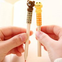 Wholesale Sleeve Extender - Wholesale-8 pieces lot New hot 2015 Deli cute pencil cap pencil sleeve pencil extender cover lovely frog and bear shape free shipping