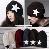 Wholesale Crochet Trapper Hat - Wholesale-Adult Women Mens Winter Warm Star Crochet Knit Hats Beanie Casual Lovers Hat Cap