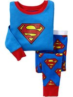 Wholesale Superman Outfit For Kids - Boys Pajamas Superman Cartoon Children Outfits Long Sleeve Keep Warm Underclothes For Kids 2T-7T 6Set Lot K925