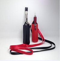 Wholesale Nylon Ego Lanyards - High quality ego lanyard necklace string with PU leather carrying pouch pocket nylon neck sling rope round corner case bag for ecig battery