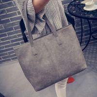 Wholesale Large Gray Leather Handbag - women bag 2016 fashion women leather handbag brief shoulder bags gray  black large capacity luxury handbags women bags designer