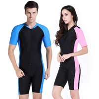 Wholesale Couples Swimwear - Wholesale- mens wetsuits women surfing diving suit couple sunscreen swimwear Bodysuit Scuba Dive Wet short sleeve swimsuit snorkeling