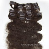 """Wholesale Wholesale Remy Hair 15 - Indian Body Wave Style Clip in human Hair 15""""-26"""" 7pcs 4# Medium Brown Brazilian Peruvian Malaysia Indian virgin Remy human Hair Extension"""