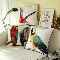 painting fabric chairs - American Style Vintage Retro Peach Skin Fabric Parrot Bird Painting Back Cushion Cover Colorful Pillow Case for Chair Seat Car