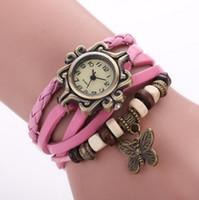 relojes de pulsera de pulsera antiguos al por mayor-Reloj de pulsera de cuero antiguo reloj de pulsera de mariposa