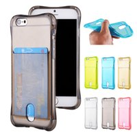 Wholesale Holder Rubber Case Iphone - For iPhone 6 6S Plus 6Plus Clear TPU Card Slot Case Soft Rubber Phone Cases Cover with Holder for iPhone6 iPhone6S