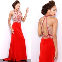 Wholesale Collar Neck Prom Dresses - New Design High Neck Prom Dresses Backless Beaded Collar Sheath Chiffon Sleeveless 2016 Cheap Miss USA Pageant Party Gowns Evening Dresses
