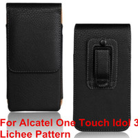 "Wholesale Touch Phone Leather Case - High Quality PU Leather Mobile Phone Case Belt Clip Pouch Cover Case For Alcatel One Touch Idol 3 4.7"" 6039 6039A 6039K 6039Y"