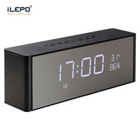 Wholesale Time Clock Usb - LP-06 New Bluetooth Mini Speaker Wireless Portable Subwoofers With Mirror Time Alarm Clock Handsfree Soundbar Desktop Stereo Dual Speaker