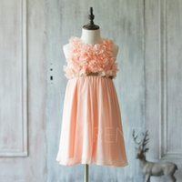Wholesale Spaghetti Strap Peach Girls - 2017 Peach Junior Bridesmaid Dress, Spaghetti Strap Flower Girl Dress, Rosette dress, Gold Belt